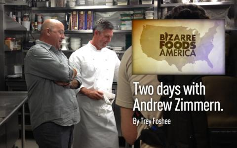 "Filming with Andrew Zimmern for ""Bizarre Foods America"""