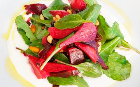 Recipe: Roasted Chino Farms Beet Salad with Pine Nuts, Currants, Arugula & Feta Puree